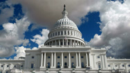 Stock Video Footage of US Capitol Building with Time Lapse Storm Clouds