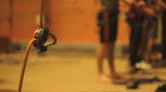Ropes in a climbing hall, Closeup Stock Footage