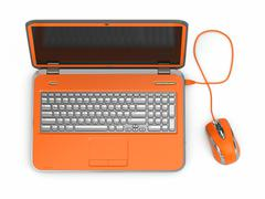orange laptop and computer mouse - stock illustration
