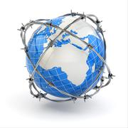 earth and barbed wire. conceptual image. - stock illustration