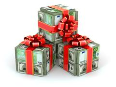 Money gift. packs of dollars and euro and red ribbon. Stock Illustration