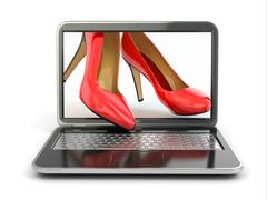 e-commerce. high heel shoes on laptop. - stock illustration
