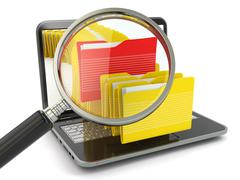 Search folder. laptop, loupe and files. Stock Illustration