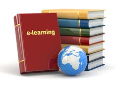 E-learning. books and earth on white background. Stock Illustration