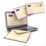 e-mail concept. laptop and letters - stock illustration