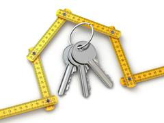 House from yardstick and bunch of keys. Stock Illustration