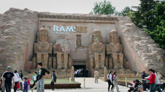 Egyptian building in Gardaland with tourists Stock Footage