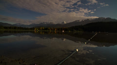 Time lapse of night clouds at Alta Lake, Whistler, BC, Canada - stock footage