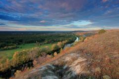 4K. Timelapse sunset on the river Seversky Donets.  Stock Footage