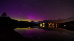 Aurora Borealis (northern lights) night sky at Alta Lake, Whistler, BC, Canada - stock footage