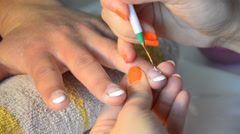 manicure, niles art painting - stock video - stock footage