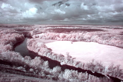 4K. InfraRed landscape: Movement of clouds over the river Seversky Donets. FULL  Stock Footage