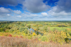 4K. Movement of clouds over the river Seversky Donets.  Stock Footage