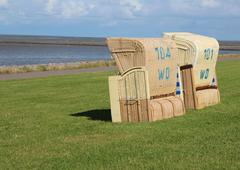beach chair on the dyke - stock photo