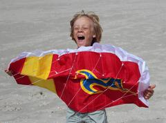 Boy is playing with stunt kite on the beach - stock photo