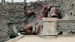 Big God Zeus statue in park Stock Footage