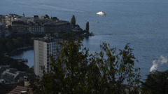 Boat docking in Montreux, Switzerland Stock Footage