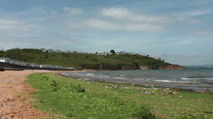 Beach with Seeweed at Broadsands, near Paington, Devon, United Kingdom Stock Footage