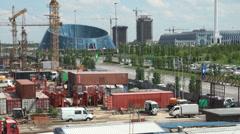 Construction of modern new buildings in Astana, Kazakhstan Stock Footage