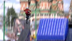 FMX Jump motorbike red square Stock Footage