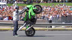 Stunt rider motorbike Stock Footage