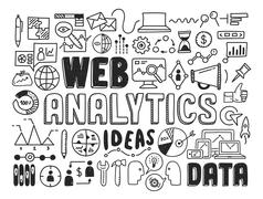 web analytics doodle elements - stock illustration