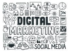 digital marketing doodle elements set - stock illustration