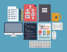 Website programming management Stock Illustration