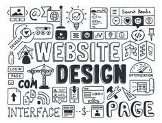 Website design doodle elements Stock Illustration