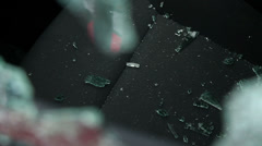 Shattered car window glass on the seat Stock Footage