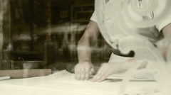 Dough roller-pin strudel making process Stock Footage