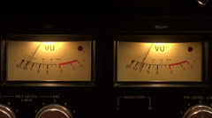 Classic reel to reel tape recorder VU meter, analog display Stock Footage