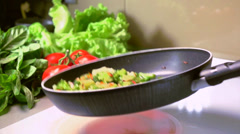Cooking Vegetables. Frying Pan Stock Footage