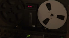 Classic reel to reel tape recorder VU meter, magnetic tape audio recording - stock footage