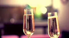 Two Glases with Sparkling Champagne Stock Footage