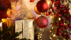 Christmas and Gifts and Decoration Stock Footage