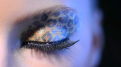 Beauty Girl with Leopard Makeup Stock Footage