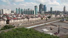 Skyline Astana and large construction site Stock Footage