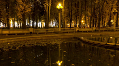 Night lantern in the park. Time lapse shot in motion - stock footage