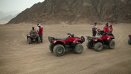 Stock Video Footage of Pan shot of number of buggies for safari ride