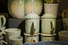 Pile of ceramic cup Stock Photos