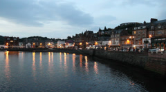 Oban waterfront at dusk Scotland Stock Footage