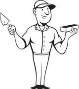 bricklayer mason standing - stock illustration