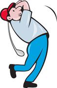 Cartoon golfer golfing swinging golf club Stock Illustration