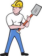 construction worker with shovel spade - stock illustration