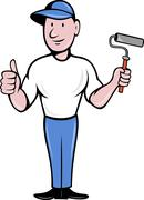 house painter with painting roller thumbs up - stock illustration