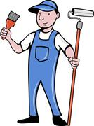 House painter with paint roller and paintbrush Stock Illustration