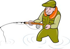 Fly fisherman with fishing rod fishing Stock Illustration