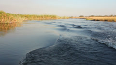 Boat on Kwando river Stock Footage
