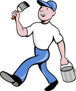 House painter with paintbrush and paint can walking Stock Illustration